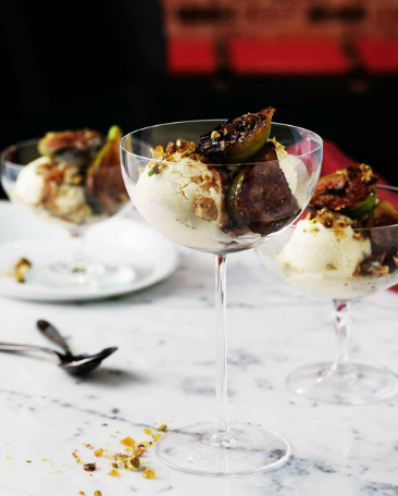 Olive oil gelato with fresh figs and and pistachio praline