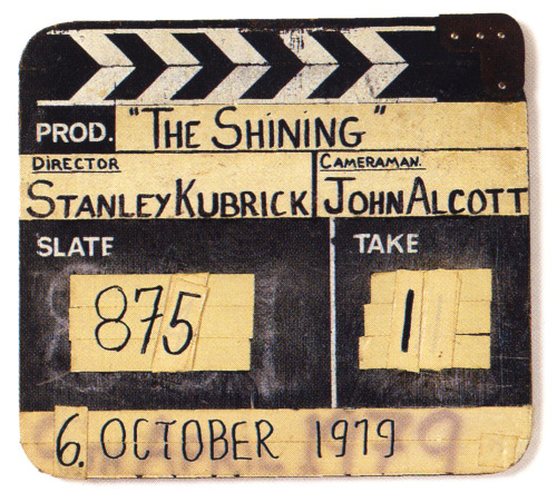 Original full-size production slate from The Shining.