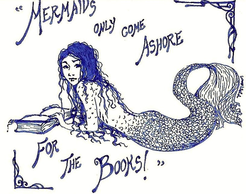 selenographics:  Mermaids only come ashore for the books~I work at a library, so it's only natural that I often end up doing book related doodles. And mermaids are awesome!