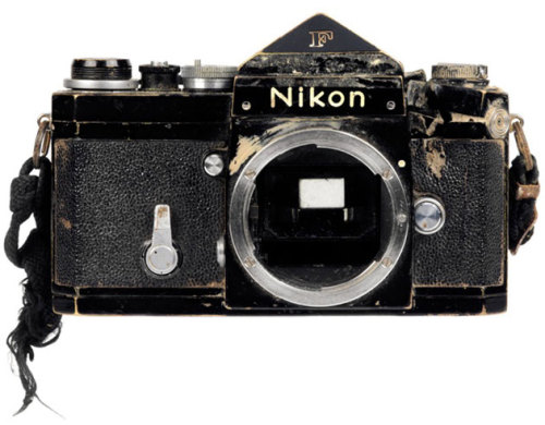 findlight:  Don McCullin's Nikon F camera, which was struck by a Khmer Rouge bullet.