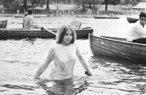 A teenage girl cooling off in the Serpentine during the Rolling Stones concert in Hyde Park, London, 5th July 1969.