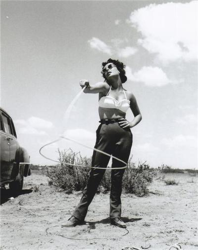 Elizabeth Taylor on the set of Giant