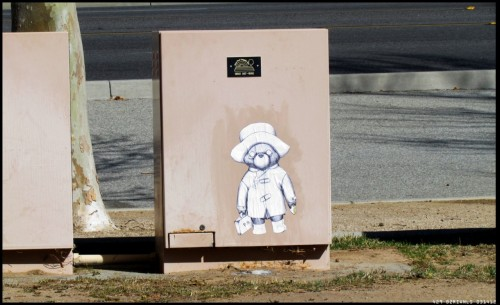 Paddington Bear i put up this week. experimenting with wheat paste.