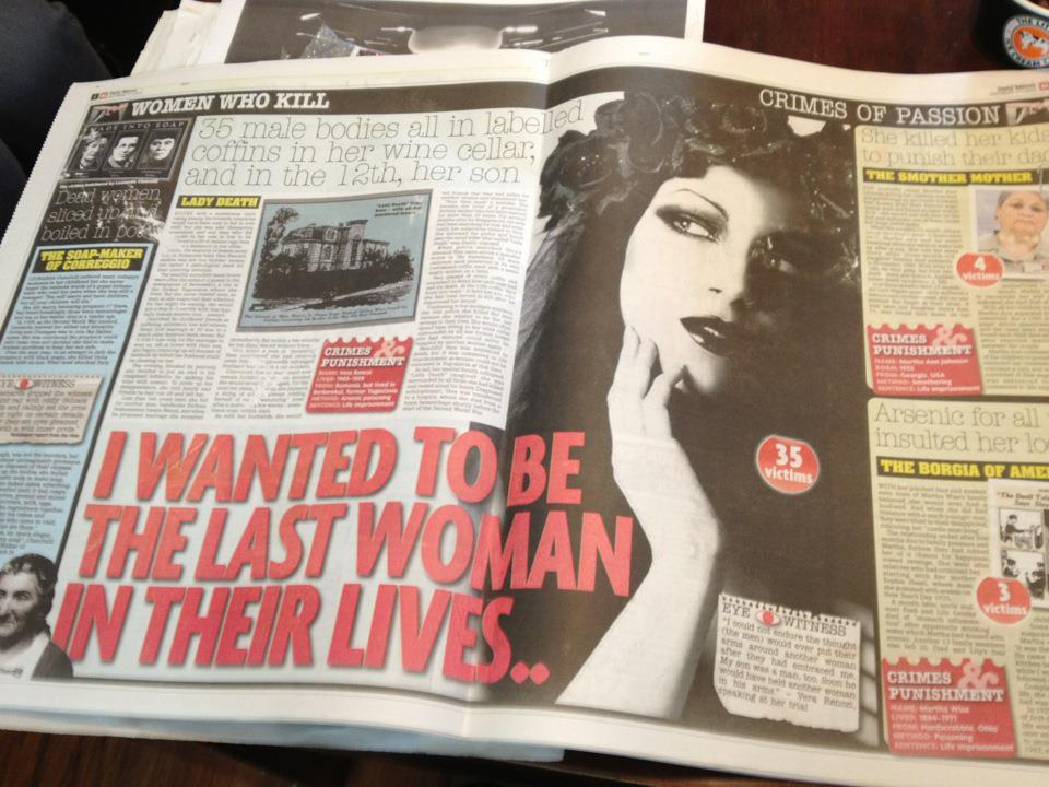 "silveraj:  Today, the Daily Mirror have used a photo of Morgana, a photographer and model, without permission. This alone is nothing new; it happens every day. But it gets worse. Her photo is on the front page, with the title 'Women Who Kill', alongside portraits of genuine murderers. The Mirror have also used her photo (an artistic self portrait) at full size, to illustrate a giant double page spread about a real serial killer, 'Lady Death', with the tagline, '35 male bodies all in labelled coffins in her wine cellar'. Morgana has quotes splashed over her such as ""I Wanted To Be The Last Woman In their Lives"" and '35 victims'.  They stole the photo from Morgana's Deviant Art gallery and cropped her copyright and logo off the bottom.  The Mirror's horrifying disregard for copyright and lazy, cheap journalism knows no bounds. Did they think they would get away with using this photo, without permission or payment, in pretty much the most libellous way possible? How stupid are these people? Needless to say, Morgana is taking legal action."