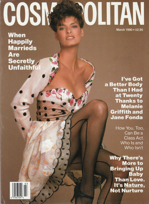 Linda Evangelista by Francesco Scavullo, Cosmopolitan March 1990