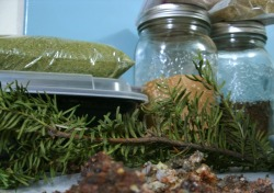 Preparing the wet and dry herbal blends to make Pacific Northwest kyphi incenses