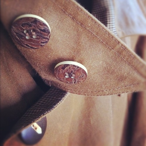 outclass-attire:  A/W 2012 sneak peak. Tagua nut and wood buttons on oiled cloth. (Taken with instagram)
