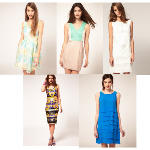 FIVE OF THE BEST ASOS, every girl's dream wardrobe has 20% off selected spring dresses untill 9am Monday, here's my pick of 5 of the best! Be sure to snap them up quickly!  Clockwise from top left- Asos tropical striped dress £40, Finders Keepers pastel colour block dress £76, Asos white dress £56, Asos sequinned midi dress £120, Kookai blue shift £119.