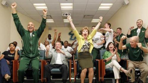 USF President Judy Genshaft gets excited about the Bulls and March Madness.