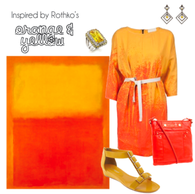 Dress- Far Fetch Earrings- Max & Chloe Ring- Fantasy Jewelry Box Shoes- Enzo Angiolini Purse- Marc Jacobs This outfit came about in a different order than many of the others. I actually found the dress first & as soon as I did my mind went to Rothko. The colors are almost identical & the way they blend is quite reminiscent of Orange & Yellow. The next motif I knew I wanted to include was the square, of course. I went a little overboard with that perhaps, but I'd still wear it. Originally Posted March 2011