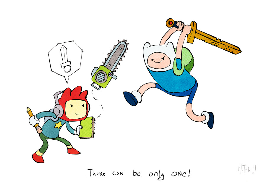 iheartchaos:  Fan art of the day: Scribblenauts vs. Adventure Time Via