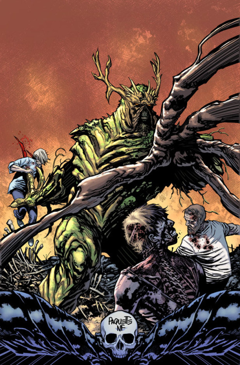 "Take a look at the newly redesigned Swamp Thing DC Comics is trying to pull Swamp Thing away from his old B-movie image into a modern character. I like the wicked new swampy look. ""Everyone who has taken on the character of Swamp Thing has redesigned him to some degree - that has always been one of the most inspiring things about him; every team that has given him life has made him their own in a unique way. So this version, our version, is something we've been dying to reveal to people for months. And now that the moment is finally here, I couldn't be prouder of what we've come up with together. Our Swamp Thing is a warrior king of the green, and the horned crown, the breastplate, all that is meant to speak to this idea - that Alec Holland was destined to be the greatest most badass swamp thing ever."" - Scott Snyder, Writer Via"