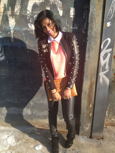 Out for a bday brunch! Self-studded jacket, h&m neon sweater and leather skinnies, McM clutch, Isabel Marant sneaker