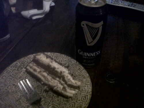 Tiramisu-triple-chocolate layer cake & Guinness.   My St. Patty's Day dessert.