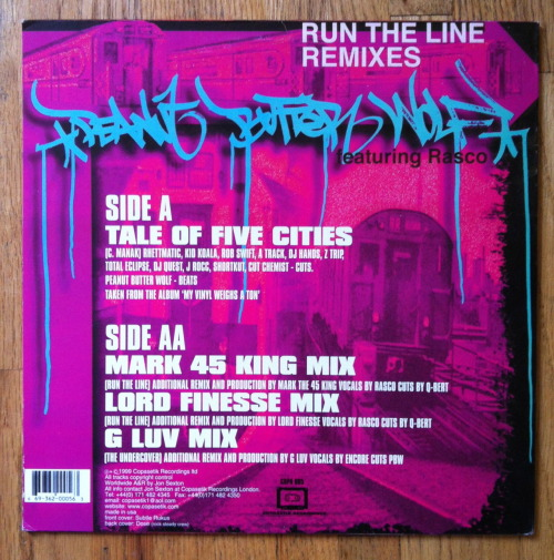Peanut Butter Wolf- Run The Line Remixes.  Art by DOSE.