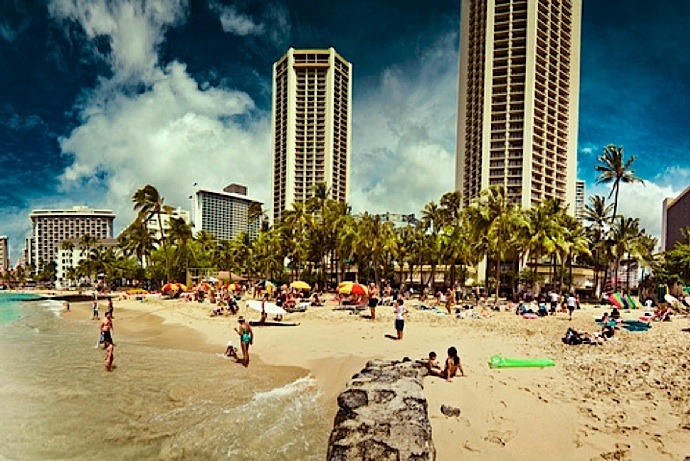 | ♕ |  Waikiki Beach, Island of Oahu, Hawaii  | by © Jens Karlsson  Click to see in the panoramic spread.