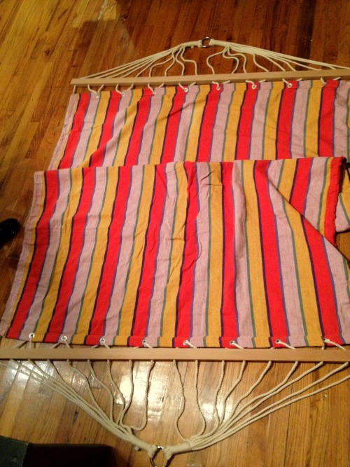"Colorful, comfortable, canvas hammock. - $20 6'4"" x 4'6"" - I've had this hammock for a while, however it has only been used to keep a couple of friends' butts off the floor.  It's very durable and clean."