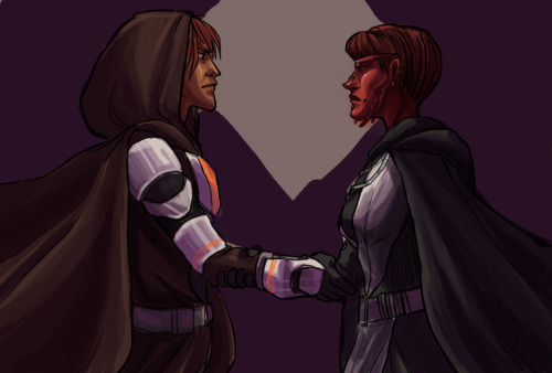WIP of Varinn (Jedi, left) and Jone (Sith, right). From the premise of our RP guild(s) on Lord Adraas.   These two disparate cells, goals aligned, have suddenly found themselves bound by a common agreement, made in utter secrecy.   AND WHY NOT, have another plug. I'm taking commissions for art in exchange for credits on SWtOR. Lord Adraas server.