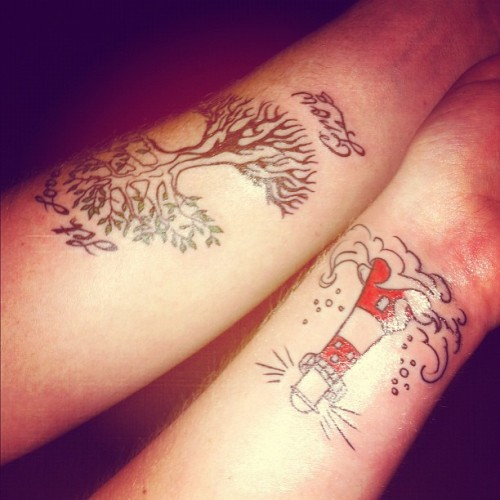 Tom and I just got tattoos. (: Ow. (: (Taken with instagram)