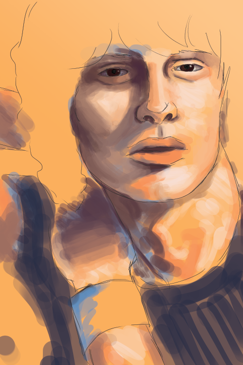 Started painting a random dude from my stock photo folder because I need practice. Painting is hard :<