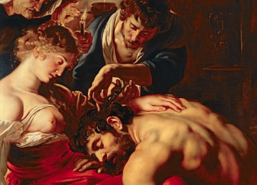 "Detail, ""Samson and Delilah"" by Rubens. Amazing Baroque artist. From the Old Testament story, where a man loses his strength when his hair is shorn. Hmmmmm. Great beard anyway…"
