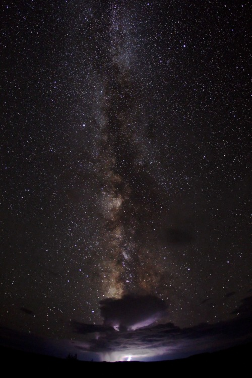 unknownskywalker:  Galactic Storm by Bret Webster This photo of the Milky Way stretching across the desert sky and a distant monsoon thunderstorm on the horizon was captured just outside of Dead Horse Point State Park in Utah.