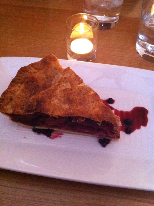 CHEZ WEXLER'S, San Francisco:  Apple Huckleberry Pie with Aged Cheddar Crust and Apple Huckleberry Balsamic. (sweet end to good time w/ KD, BD, RP & MR.)