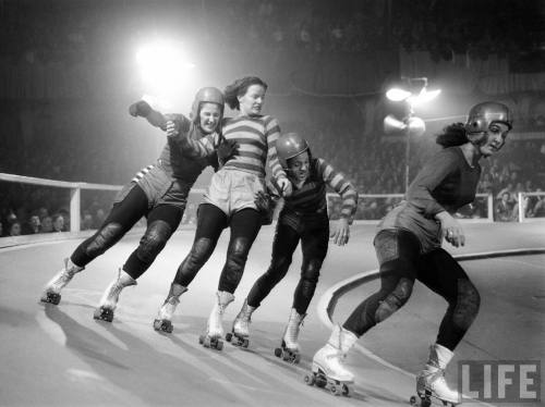 swhisted:  Roller Derby Girls, 1948 (LIFE Magazine)  Did you know that Greenville, NC has two of its very own roller derby leagues. Betcha didn't realize that now did you?