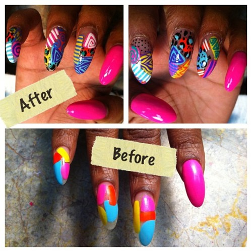 #beforeandafter #naila #kawaiinails #nailart #nailartaddicts #nailsohhlala #pink #funky #wild #fun #instagram #iPhone  (Taken with instagram)