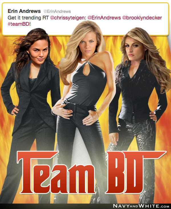 Erin Andrews, Chrissy Teigen and Brooklyn Decker tweet a new team.