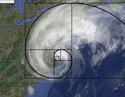 A Fibonacci/Golden Spiral on top of Hurricane Irene.