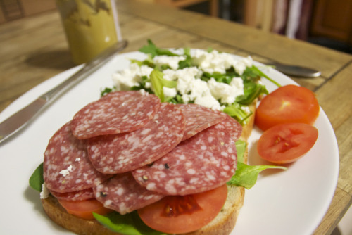 Raleigh makes these salami, goat cheese, and arugula sandwiches quite often.