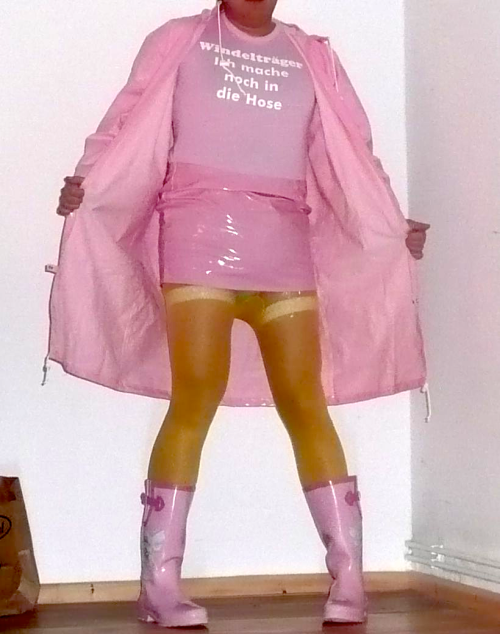 When it's raining, a Sissy should wear pink rain boots (and thick diapers as well)