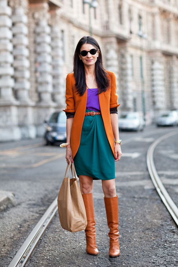 Oh my! I love this color-blocking combo! (via Fall 2012 Street Style Photos - Harper's BAZAAR)