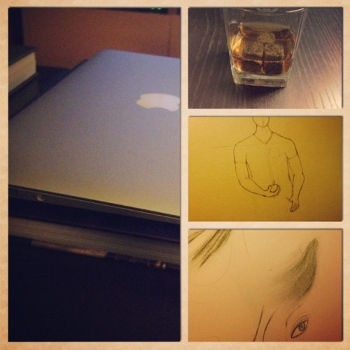 How I spent my night. #free #macbookair #whiskey #whiskeystones #drawing #doodles #rainynights #warminhere!  (Taken with Instagram at Home)