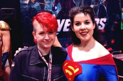 goddamn-batgirl:  And here I am with Kit Quinn, another one of my favourite cosplayers, as Superma'am. God, I was trying not to fangirl as hard as i was in my head, I love her costumes so much and she's such a nice person! Hopefully I'll see her again tomorrow along with Silver :D