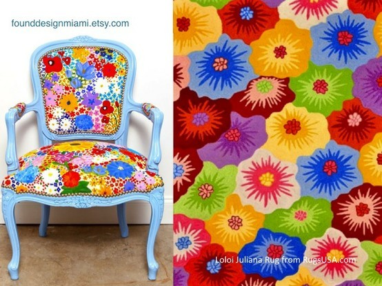 I love these bright floral patterns. I want these two things together so bad, wish I could incorporate them into my home!