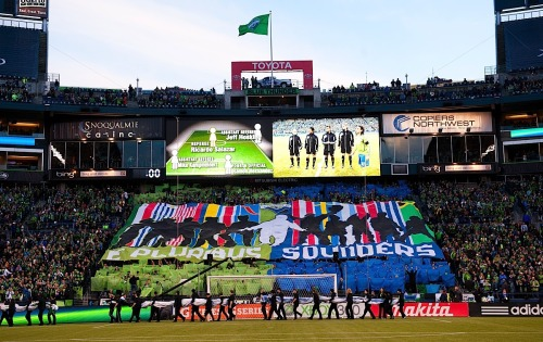 "Brougham End Tifo display - ""E Pluribus Sounders""2012 First Kick, Toronto FC vs. Seattle Sounders FC Photo: Rod Mar (Sounders FC)"