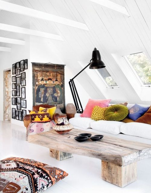 White living room with quirky features.