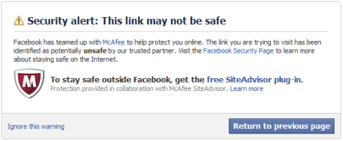 This showed up on the Facebook when I clicked the link to my potentially harmful blog, The Gospel According to Preston. In other words, I managed to piss off someone at McAfee or Facebook, which comes as a surprise to me… I didn't know McAfee still existed!