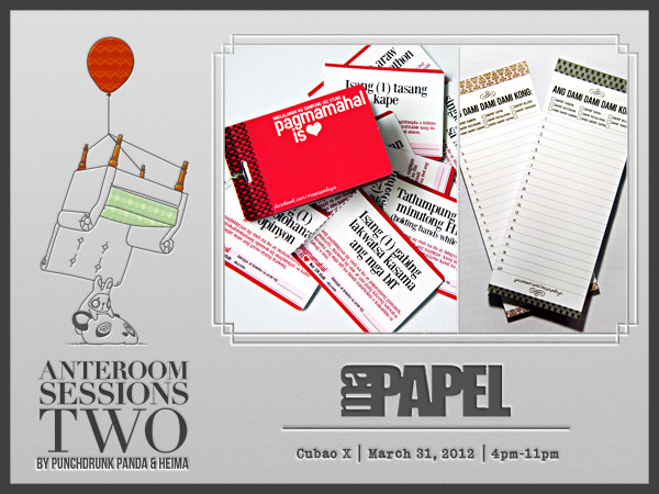 Check out @MaPapelPH paper products at Anteroom Sessions 2! A lovechild of Dandy Notes, MaPapel offers quirky and funky paper products that are all about every young girl's obsession with paper, design, print, stress, and drama. Aside from paper products, MaPapel also offers various merchandise such as katcha summer tote bags, sweetheart necklaces, bag tags and pvc rings. Catch their pop-up shop at Anteroom Sessions 2 on March 31, 2012, 4pm-11pm at Cubao Expo. Get ready for some fun and interesting products of MaPapel when you go to Anteroom! Better check out their Tumblr and Facebook and start eyeing your purchases =) See you at Anteroom!