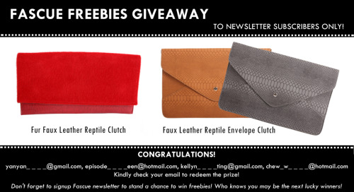 Fascue Freebies Giveaway – For Newsletter Subscribers Only!Congratulations to yanyan_ _ _ _@gmail.com, episode_ _ _ _een@hotmail.com, kellyn_ _ _ _ting@gmail.com, chew_w_ _ _ _@hotmail.com! Kindly check your email to redeem the prize!Signup Fascue newsletter to stand a chance to win freebies giveaway randomly!Who knows you maybe the next lucky winners! <3