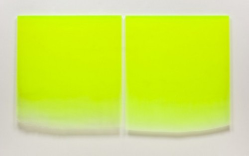 paddle8:  Peter Alexander, 12/5/11 (Large Flo Yellow Drip Diptych), 2011  Urethane, 46 x 41 inches    NYEHAUS