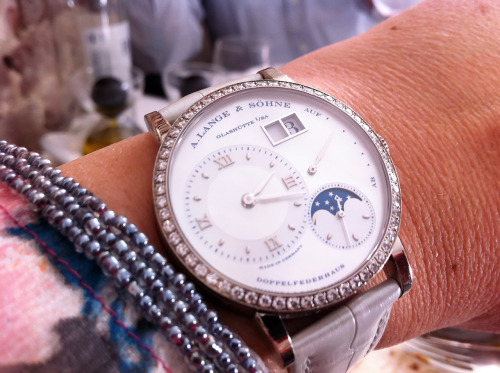 Supercool ladies watch, the Little Lange 1 Moonphase in white gold and diamonds.