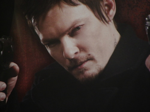 reedusnormaniac:   picsofthedays:  March 9th, 2012 Close-up of my poster … I could stare at that all day and regret nothing.   *stares*  Good Lord, Eve! That man don't need you boostin his ego no more than it is!