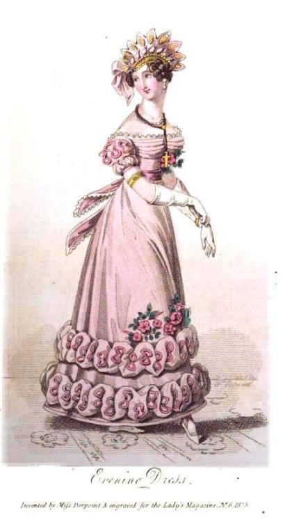 Lady's Magazine, Evening Dress, June 1825.  Oooh!  I love this dress!  The skirt time is JUUUSSSST on the edge of being comically large but it makes for such a bold addition.  Plus, I love spray of flowers along the front.  Bonus points for an amazingly cool turban!