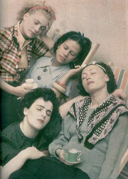booksvscigarettes:  Lee Miller, Ady Fidelin, Nusch Eluard, Leonora Carrington by Roland Penrose, 1954.  Lee Miller. Not only was she one of the more intense surrealists I've come across (that breast on a plate photograph is seriously disturbing), she was also a photojournalist for Vogue Magazine during WWII (Vogue! War correspondent!). Some of my favorite photographs are by her: Hitler's bathtub, the fire masks (Diane Arbus before Diane Arbus), the cultural artefacts broken by war (the typewriter, the grand piano) etc. etc. Ok, this post didn't have any particular direction.