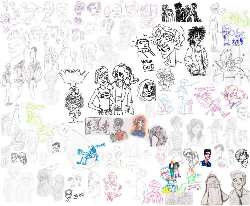 "And the other sketch dump. Fan art and not fanart, mostly random faces. Lots of my characters, class mates, a pair of non-clothes wearing cat people okay no they just look like people, crowd creatures,the mighty neckbeard, my sister's characters, some of these were drawn on napkins, an elephant, robin leaping about like an idiot…no wait, the only fan art is robin and a little bit of ""how do you draw dirk, let's see, they've got a lot of hair and look real fun to draw"". This is a weird dump. That is the best summary.  Really to be best said, it's a long story.  so hard to upload this. here are some links instead http://i44.tinypic.com/14bpy6t.jpg http://i43.tinypic.com/2wbx7py.jpg http://i41.tinypic.com/rhsx1h.jpg http://i44.tinypic.com/2u7rkmx.jpg sigh, let this be a lesson for me."