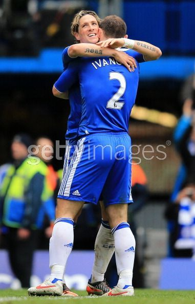 Torres celebrates his goal with Ivanovic