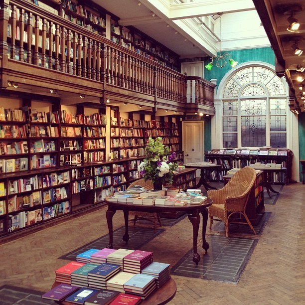 ablindglass:   Because this is just what bookstores in England look like. (Taken with instagram)   Is that Daunt on Marylebone High Street?  I promise you they don't all look like that. Daunt books a quite special.